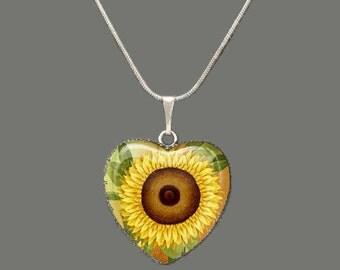 Sunflower Glass Pendant