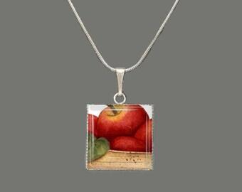Apple Barrel Glass Square Pendant