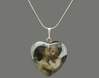 Cherub/Angels 'First Kiss' Glass Heart Pendant