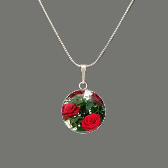 Red Roses Glass Pendant