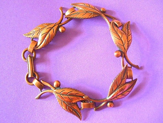 Vintage Copper Leaves and Berries Bracelet