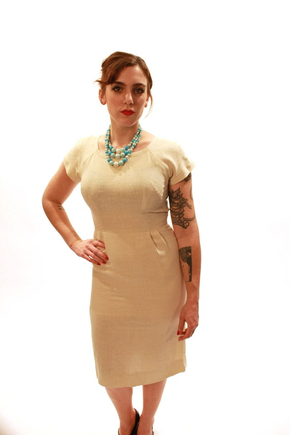 1950s Cream Linen Wiggle Dress