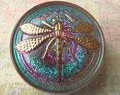 Green, Purple and Gold Iridescent Dragonfly Czech Glass Button 22mm