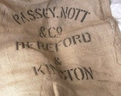 Printed Vintage Grain Sack Passey Nott & Co Hereford and Kington, Vintage Grain Sack, Burlap Grain Sack, Jute Grain Sack