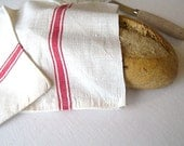 Original French Cotton Linen Bread Bag, Sac a' Pain Francais, Vintage French Bread Bag, Red Stripe Bread Bag
