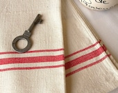 Traditional French Linen Kitchen Towel, Linen Kitchen Towel, French Torchons, Vintage Tea Towel, French Tea Towel with Red Stripe