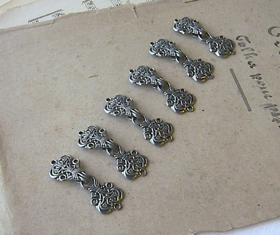 Six Pairs of Hook and Eye Fasteners, Metal Hook and Eye Fasteners for Sewing Projects, Ornate Hook and Eye Fasteners,