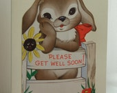 Get Well card. Bunny and sunflower. Made from a vintage card.