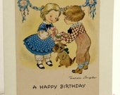 Birthday card. Made from a vintage card. Birthday Cupcakes. Freddie Langeler...