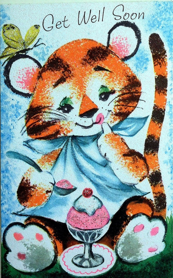 Get well card. Tiger and butterfly. Made from a vintage greetings card.