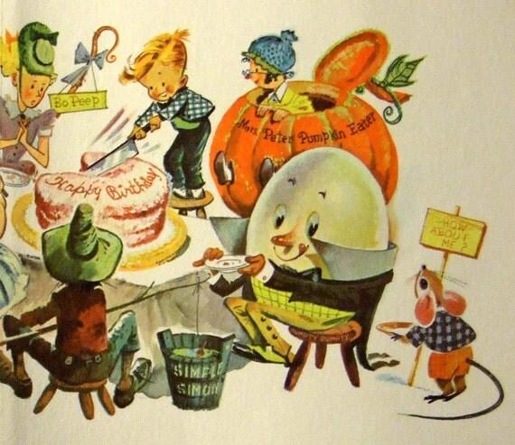 Vintage Greetings Card. Lots of Nursery Rhyme Characters. Collectable. Scrapbooking. Crafts. Framing.  Birthday Card...
