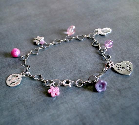 Pink Its A Baby Girl Pregnancy Motherhood Charm Bracelet