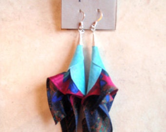 Leather and silk earrings