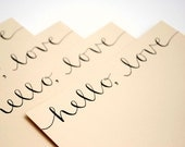 Hello Love Stationery Set, Handwritten Cards, Modern Calligraphy, Tan, Beige, Khaki, Neutral, Set of 4 Flat Notecards