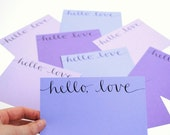 Hello Love Flat Notecards in Mixed Purples - Set of 9