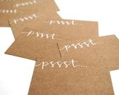 Rustic Mini-Notecards, Pssst, Handwritten Calligraphy, Rustic Calling Cards, White Ink, Brown Kraft, Set of 10