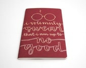 Harry Potter Inspired Notebook, Modern Calligraphy, Gryffindor Edition, Gold Ink on Red Moleskine, I Solemnly Swear That I Am Up to No Good