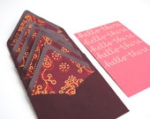 Elegant Stationery Set . Hello There . Handwritten Calligraphy . Gold Ink on Salmon Pink . Paisley Lined Fig Envelopes . Set of 5