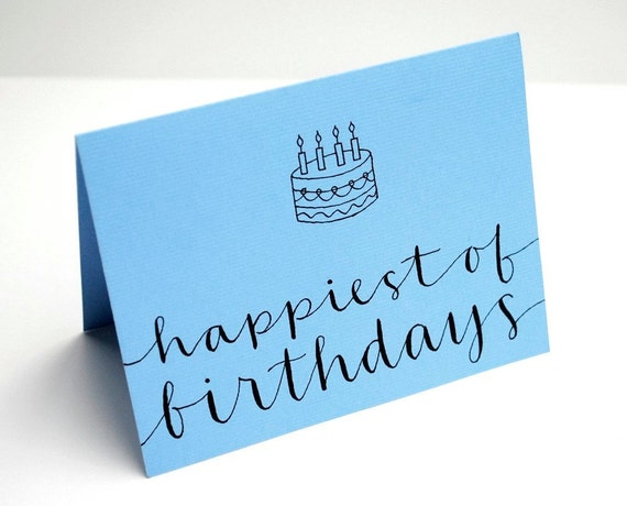 Happiest of Birthdays Greeting Card in Sky Blue