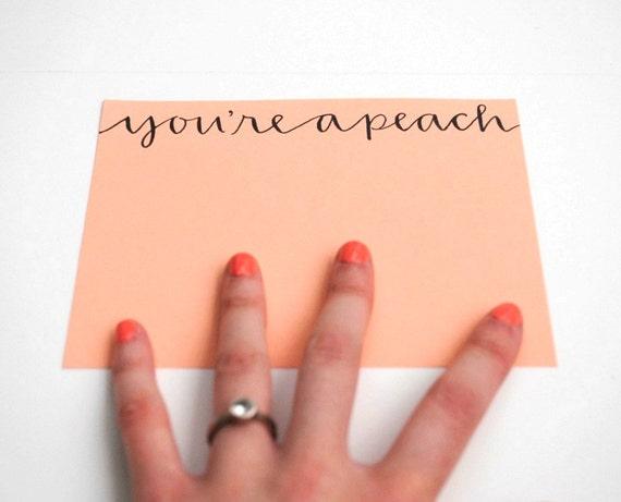 You're A Peach Flat Notecards in Peach - Set of 9