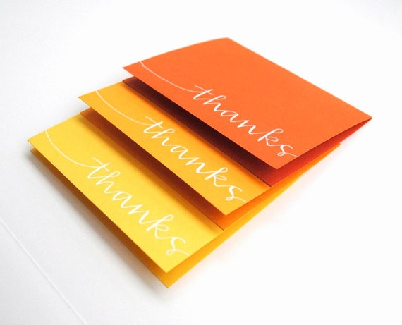 Simple Thanks Stationery in Autumn Colors . Handwritten Calligraphy . Set of 6 Folded Cards