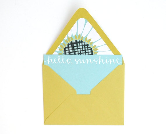 Stationery Set for Spring . Hello Sunshine . White Ink on Aqua Flat Notecards . Floral Lined Chartreuse Envelopes . Set of 5