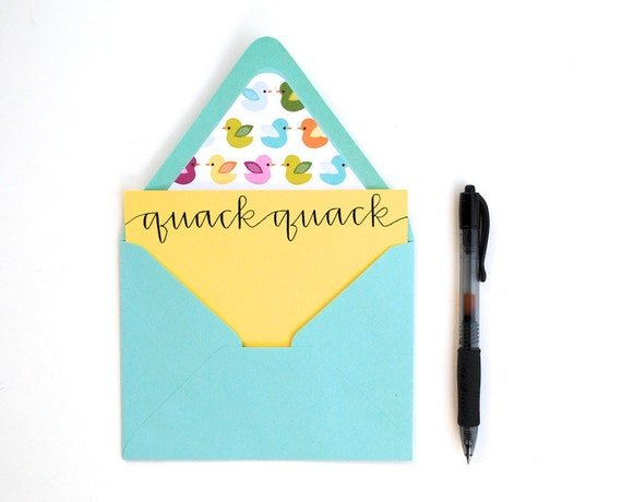 SALE Duck Stationery Set . Quack Quack . Modern Calligraphy . Mustard Yellow Cards with Duck Lined Aqua Envelopes . Set of 6