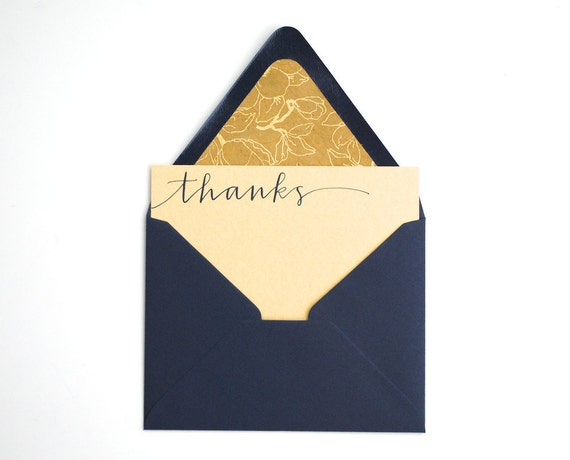 Thanks Stationery Set with Modern Calligraphy . Navy Blue Ink on Gold Shimmer . Floral Lined Navy Envelopes . Set of 5