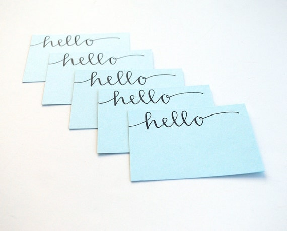 Hello Calling Cards with Modern Calligraphy . Handwritten Mini-Notecards . Pale Blue . Set of 5