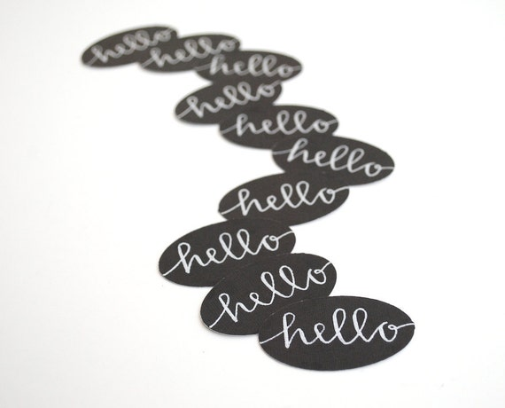 Black Stickers with Silver Ink Calligraphy . Hello . Modern Envelope Seals . Set of 10