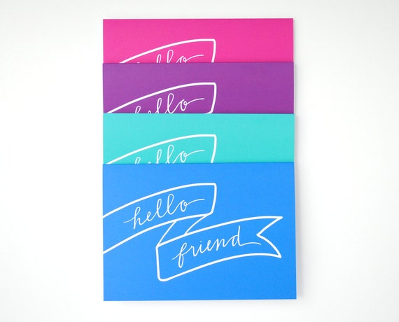 Hello Friend Stationery, Banner Illustration, Hand-Lettered Calligraphy, Bright Folded Cards, Teal, Blue, Pink, Purple, Set of 4