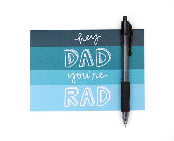 Father's Day Card . Teal Ombre . Handwritten Calligraphy and Block Lettering Design . Color Spectrum . Single