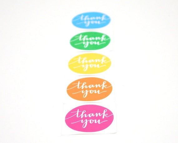 SALE Thank You Stickers . Bright Neon Colors . Modern Calligraphy . Hot Pink, Orange, Yellow, Green, Blue . Set of 5