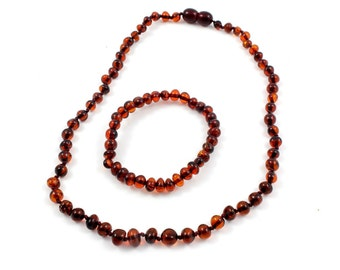 Effective Baltic Amber Baby Teething Necklace and Anklet for Baby