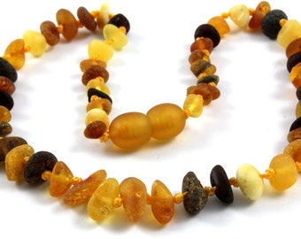 Baltic Amber Baby Teething Necklace Multicolor Unpolished