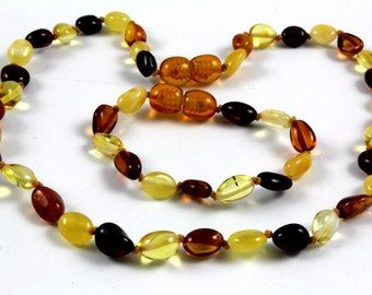 Baltic Amber Teething Necklace for Baby polished multicolor Baltic Amber