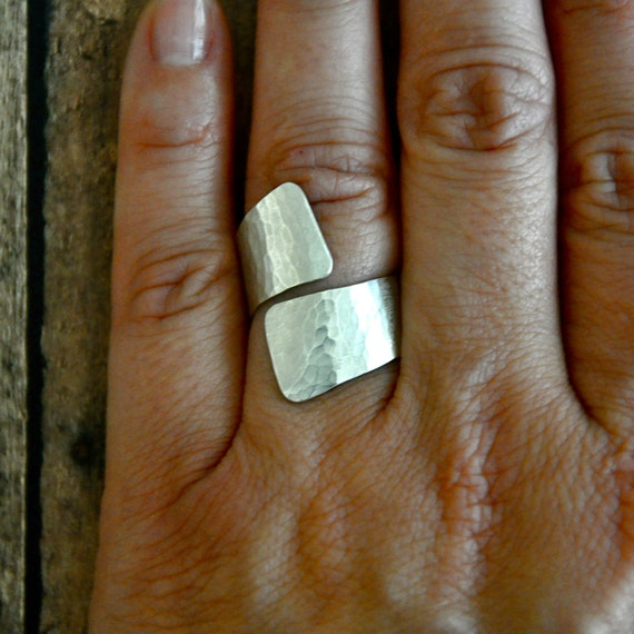 Fine Silver Hammered Wrap Ring