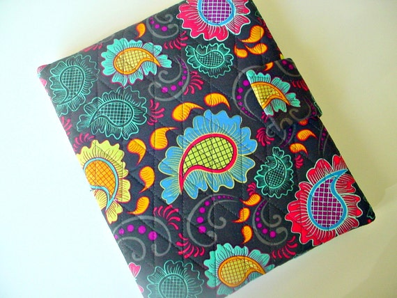 iPad case-Vera Bradley style quilted in Bright Paisley Print on Charcoal