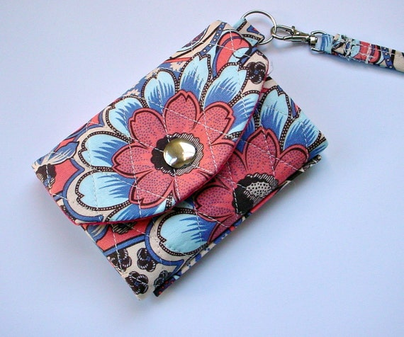ID Wallet/Key Chain in quilted Blue and Coral Floral print with Coral Lining