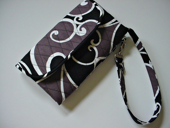 Vera Bradley style Wristlet/Wallet Carry-all in Whimsy Surf Black