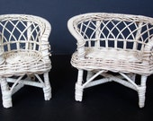 Vintage Wicker / Rattan Dollhouse Furniture: Loveseat and Chair