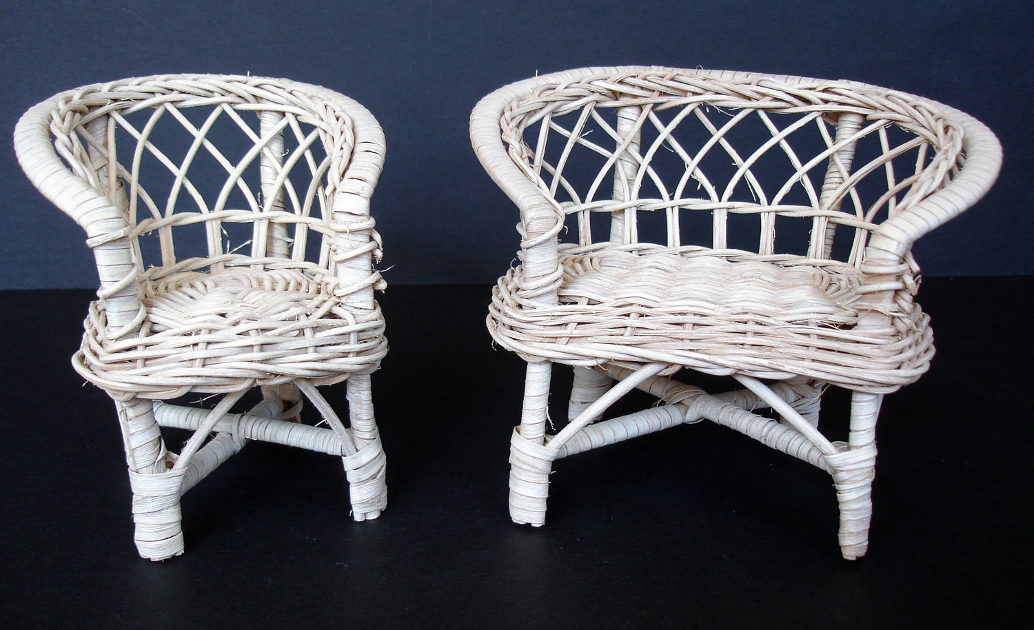 vintage wicker rattan dollhouse furniture loveseat and