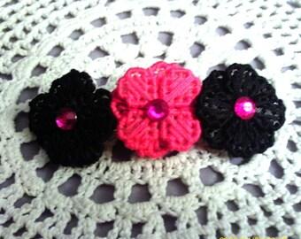Pink and Black Flower Barrette ( choose gem or bat center)