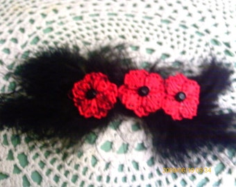 Black Raven Feather and Red Flower Barrette
