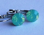 Swarovski Palace Green Opal 8mm Leverback Earrings