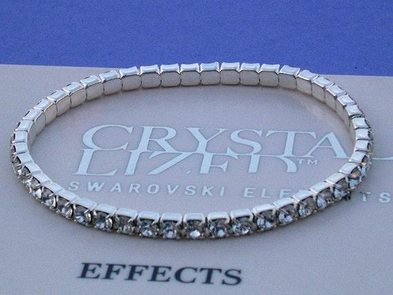 Sterling Silver Plated Tennis Swarovski Clear Crystal Stretch Bracelet
