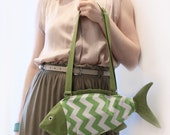Green Chevron Fish Purse