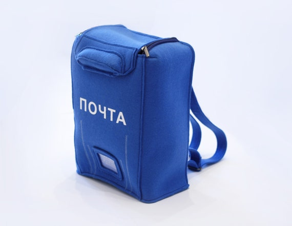 PO Box Bag Postman Blue Felt  Backpack
