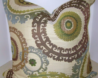 BOTH SIDES Jacquard embroidered  20 x 20 Beautiful Suzani pillow cover - Taraz Spring blue taupe citrine circles geometric fast