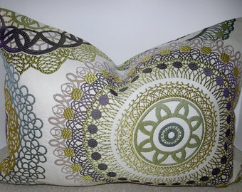 BOTH SIDES 20 x 12 Jacquard pillow cover citrine citron green violet purple gray taupe teal suzani circles geometric CC2